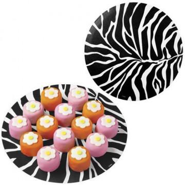 Tapetes redondos 30 cm pack 6 unidades Zebra Wilton