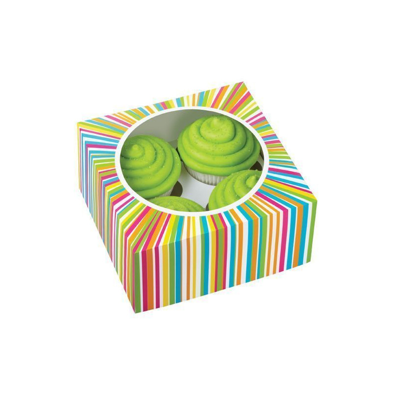 Cajas, pack 3 cajas presentación para 4 cupcakes Arcoiris Wilton