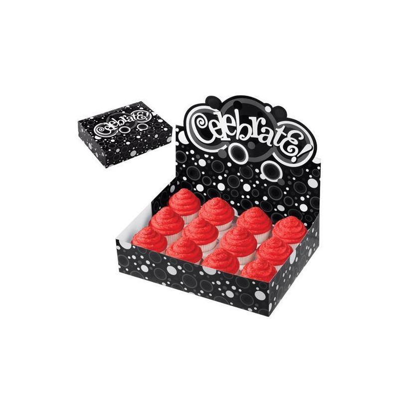 Caja Stand Expositor 12 Cupcakes Celebrate Blanco y Negro Wilton