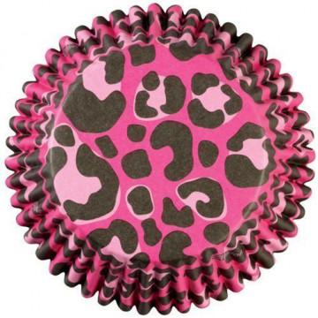 Capsulas cupcakes antigrasa Leopardo Rosa Wilton