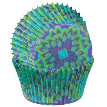 Capsulas cupcakes Pavo Real Wilton