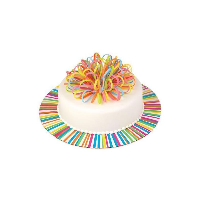 Platos redondos para tartas Arcoiris 30.4 cm. Pack 3 unidades Wilton