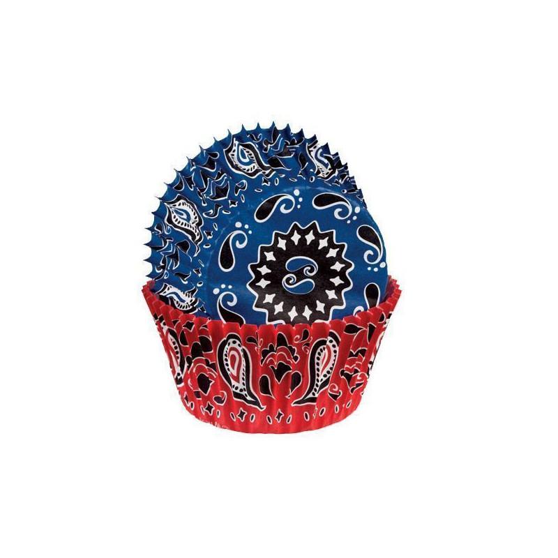 Capsulas cupcakes Pañuelo Cowboy Rojo y Azul Wilton