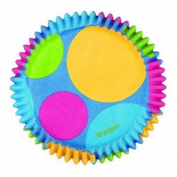 Capsulas mini cupcakes turquesa con lunares de colores Wilton