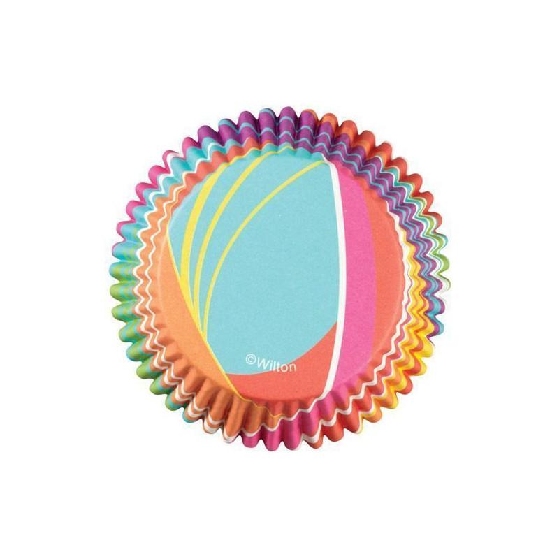 Cápsulas cupcakes antigrasa Rayas Arco Iris Wilton