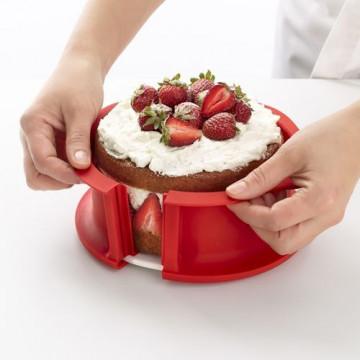 Molde redondo 15 cm Duo Springform: silicona con plato de ceramica Rojo Lékué
