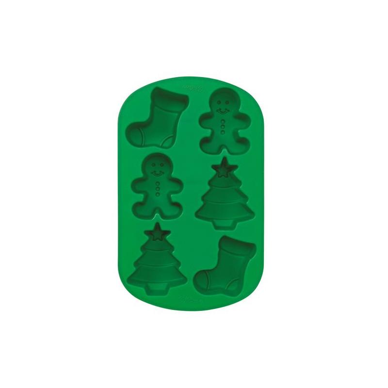 Molde silicona 6 cavidades Navidad: Gingerbread, Árbol y Calcetín Wilton