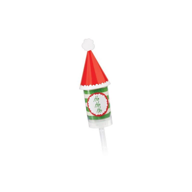 Etiquetas+Toppers adhesivas 12 unidades Push up Gorro de Santa Navidad Wilton