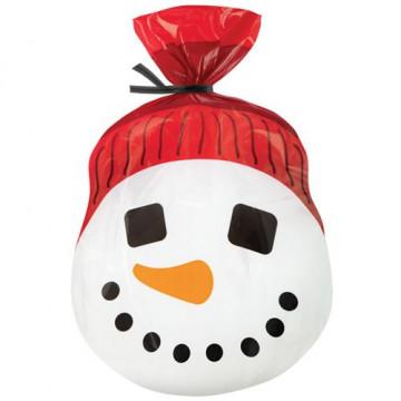 Bolsas para galletas, piruletas pack 15 unidades Cara Muñeco de Nieves Navidad Wilton