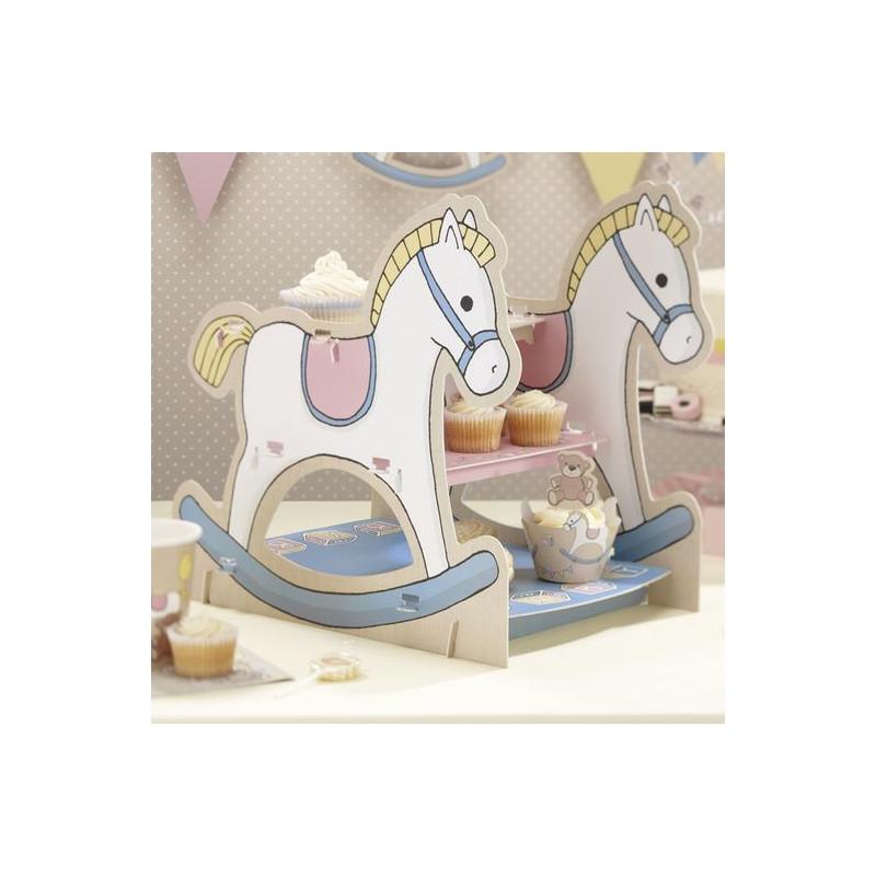 Stand de presentación cupcakes pastelitos Fiesta Bebe
