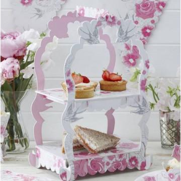 Stand de presentación cupcakes/dulces Rosas y Palomas