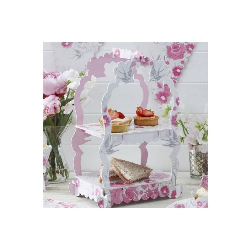 Stand de presentación cupcakes/dulces Rosas y Golondrinas