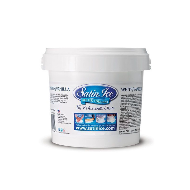 Fondant listo para usar Blanco sabor Vainilla 5 kg Satin Ice