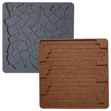 Molde silicona Texturas: Piedra y Madera Wilton