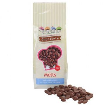 Choco Melts Sabor Chocolate con leche Grageas de Chocolate 350gr Funcakes