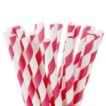 Pajitas de papel Blancas con lineas fuxia HoM
