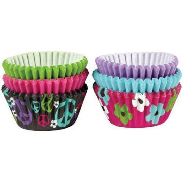 """Cápsulas mini cupcakes pack 150 unidades Surtido """" flores y paz""""  Wilton"""