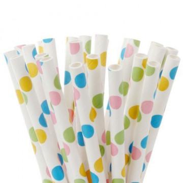 Pajitas de papel Blancas con lunares de colores Hom