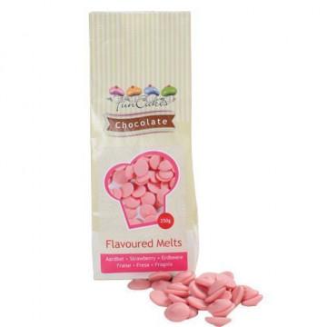 Choco Melts Rosa sabor Fresa Grageas de Chocolate 250gr Funcakes