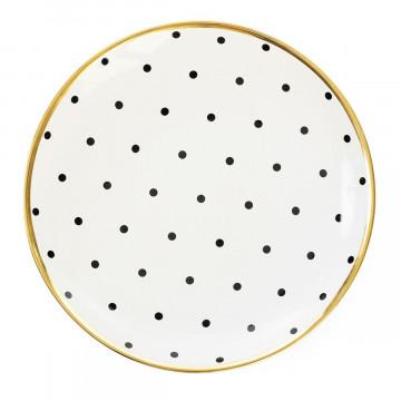 Plato de cerámica Lunares Negros