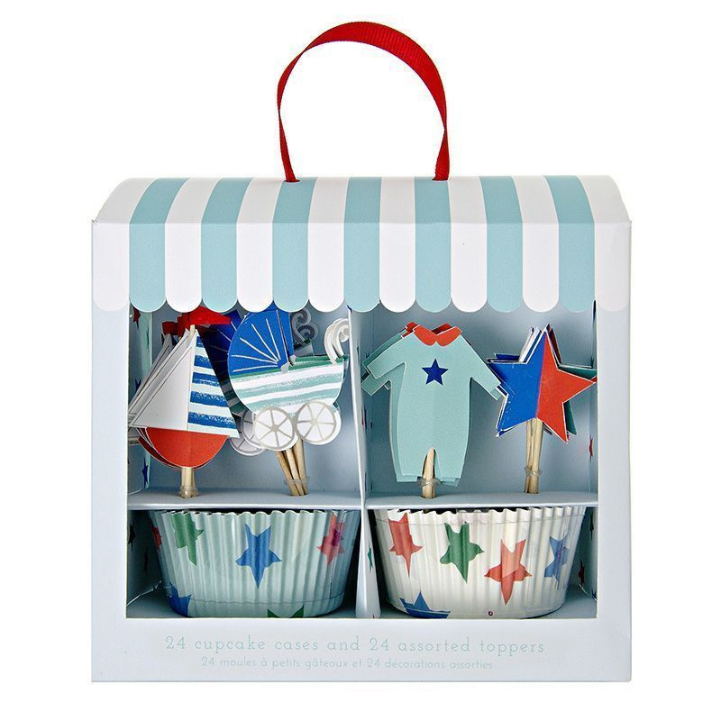Set cupcakes + toppers Baby Shop Azul