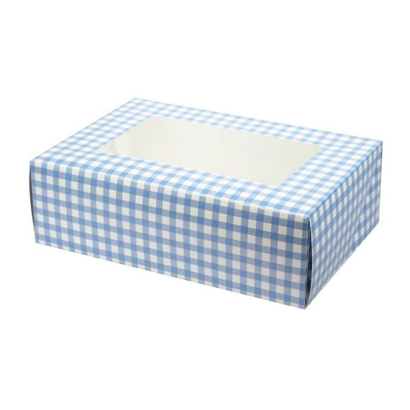 Caja 6 cupcakes Vichy Azul