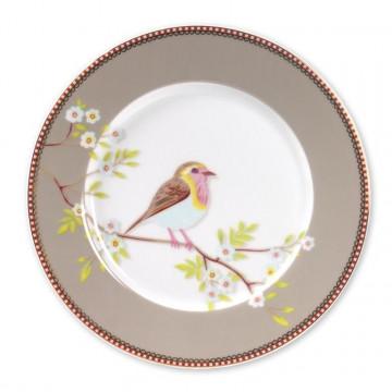 Plato de cerámica postre Floral Oiseau Beig PIP Studio