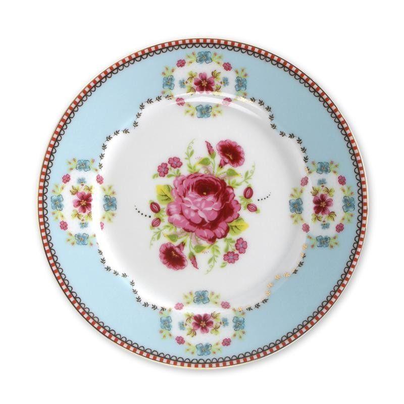 Plato de cerámica postre Floral Azul PIP Studio