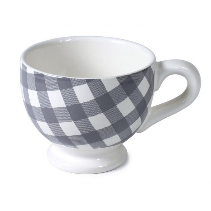 Taza con asa cerámica Vichy Grande Gris AHWM
