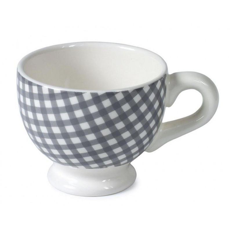 Taza con asa cerámica Vichy Pequeño Gris AHWM