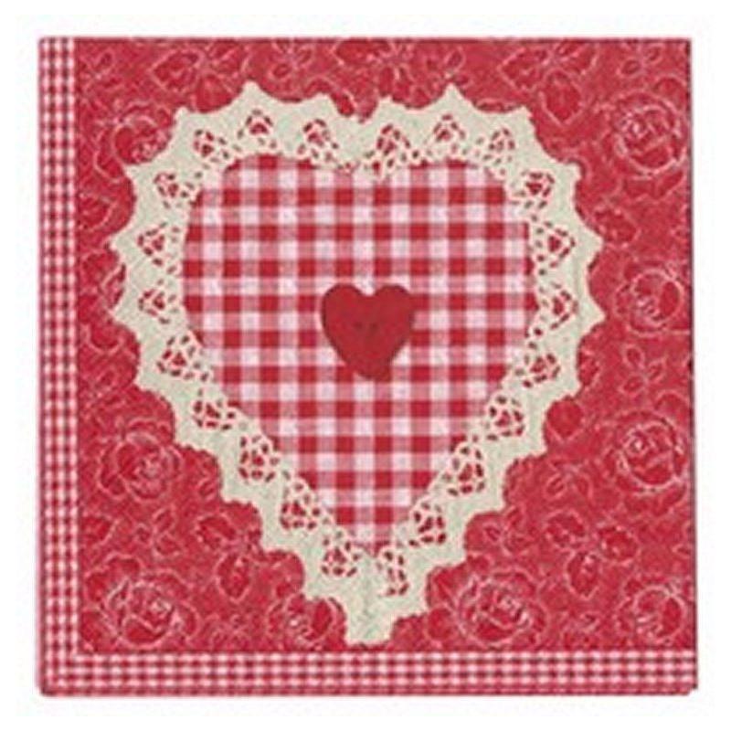 Servilletas de papel Corazón Rojo AHWM
