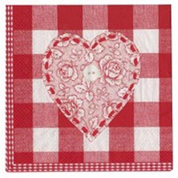 Servilletas de papel Corazón Rojo Rosas AHWM