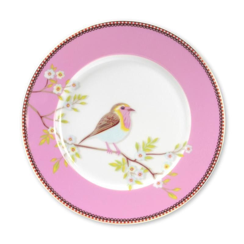 Plato de cerámica postre Floral Oiseau Rosa PIP Studio