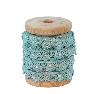 Cinta de tela decorativa encaje algodón Mint Green Gate