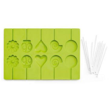 Molde silicona piruletas +  palitos varios Ibili