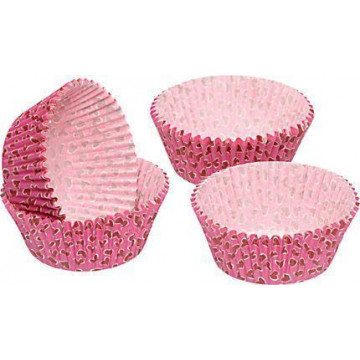 Capsulas cupcakes rosa con corazones