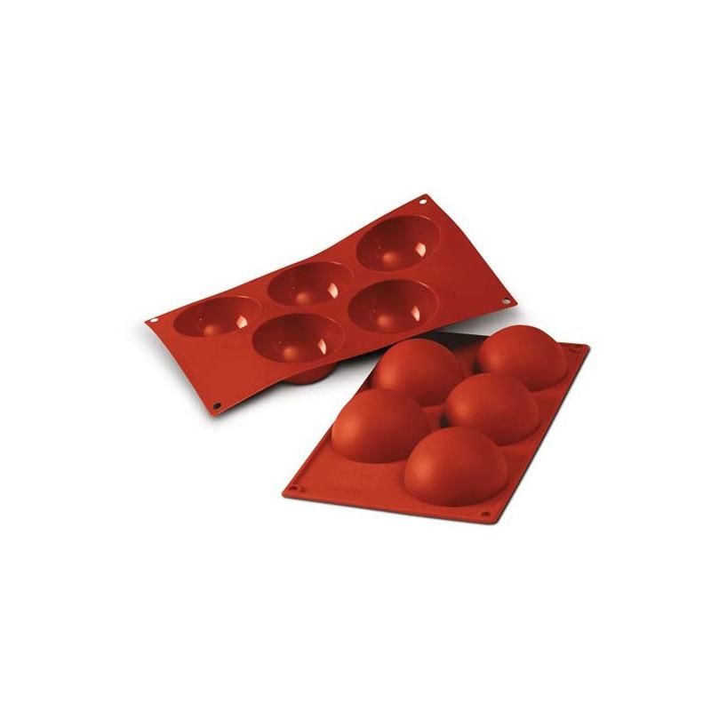 Molde 5 cavidades Semiesferas 8 cm Silicona Terracota SLK