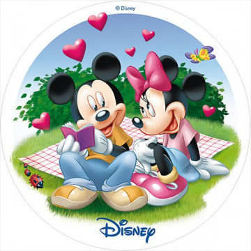 Oblea comestible Minnie y Mickey Mouse San Valentín 1