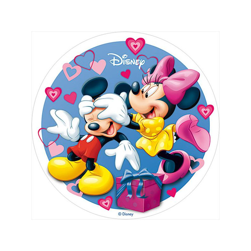Oblea comestible Minnie y Mickey Mouse San Valentín 3