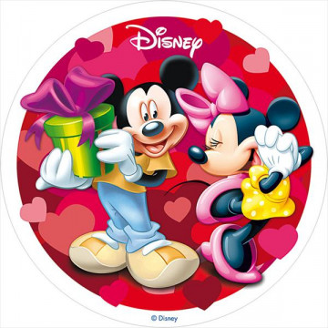 Oblea comestible Minnie y Mickey Mouse San Valentín 4