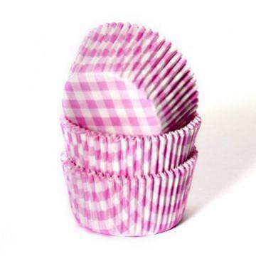 Cápsulas cupcakes de cuadritos vichy rosa House of Marie.