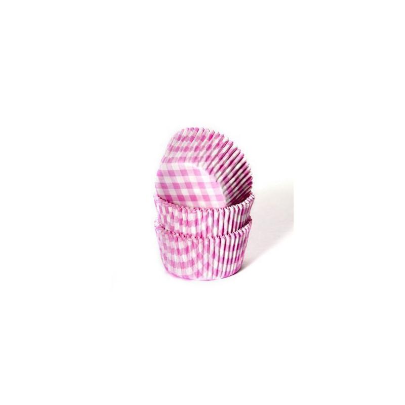Capsulas cupcakes Cuadritos Vichy Rosa HoM