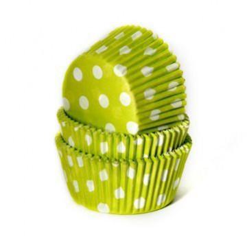 Cápsulas cupcakes verdes con lunares blancos House of Marie