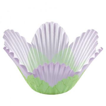 Cápsulas Muffins Pétalos verde y lavanda Wilton