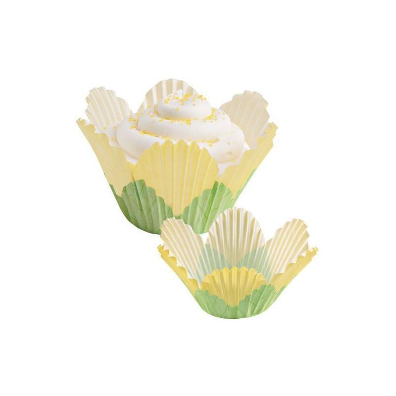 Cápsulas Muffins Pétalos verde y amarillo Wilton