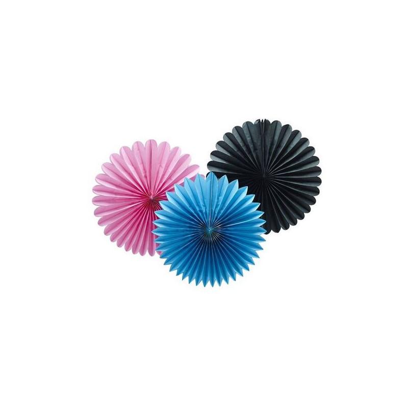 Abanicos de papel: Fuxia, Azul y Negro