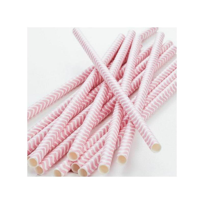 Pajitas de papel Chevron Rosa Pastel