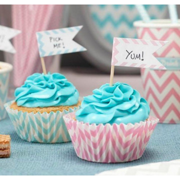 Pack de 15 toppers Chevron Pastel
