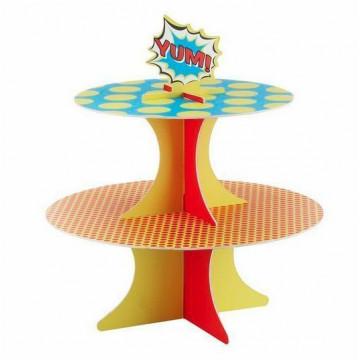 Stand presentación cupcakes pastelitos Pop Art Superheroe