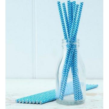 Pajitas de papel Chevron Azul